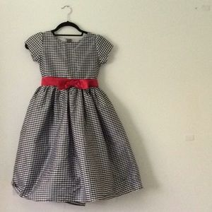 Formal black and white check dress